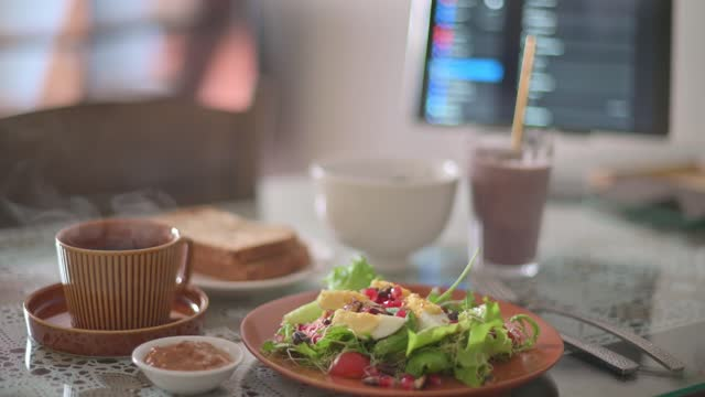morning healthy food salad , fruit shake, toasted bread on dining table with digital tablet - cold drink stock videos & royalty-free footage