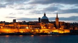 Morning hyper lapse of Valletta old town, Malta