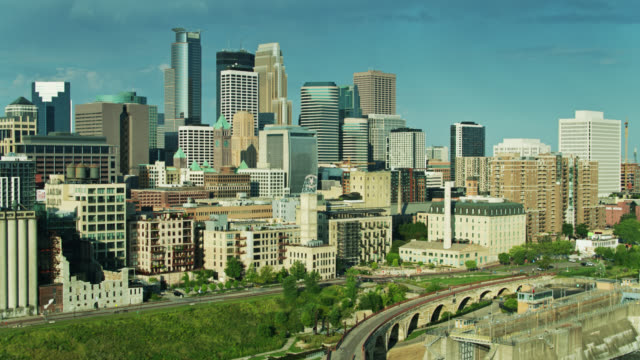 morning in downtown minneapolis - aerial shot - minnesota stock videos & royalty-free footage
