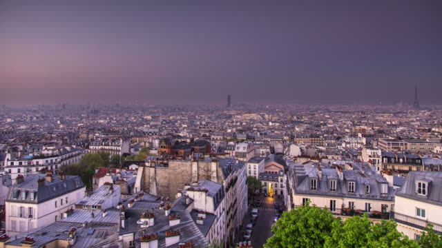 morning in montmartre, paris - full day to night time lapse - dawn stock videos & royalty-free footage