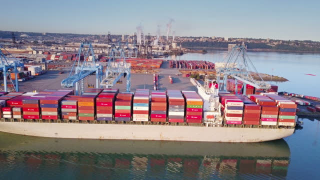 morning in the port of tacoma, washington - cargo ship stock videos & royalty-free footage