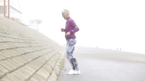 morning jogging - white hair stock videos & royalty-free footage