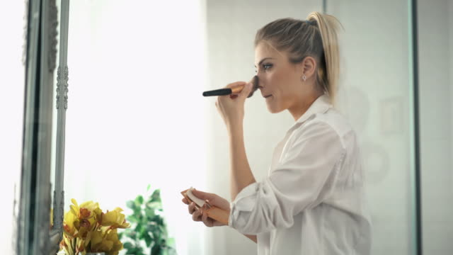 morning makeup - blusher make up stock videos and b-roll footage