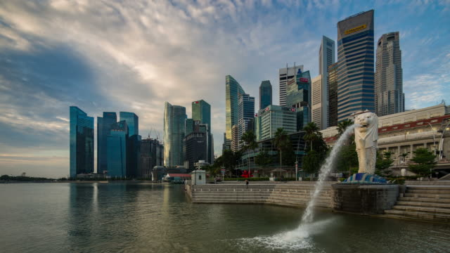 morning marina bay - singapore stock videos & royalty-free footage