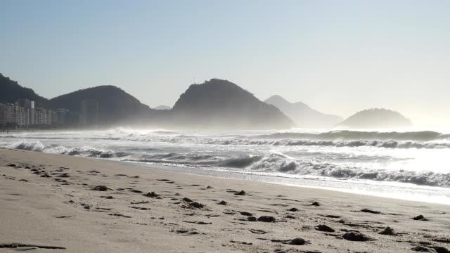 Morning mist at Copacabana Beach in Rio de Janeiro, Brazil