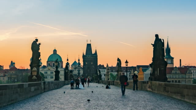 morning prague with charles bridge, time lapse - prague stock videos and b-roll footage
