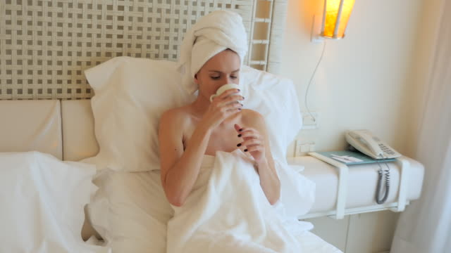 morning satisfaction ! - wrapped in a towel stock videos & royalty-free footage