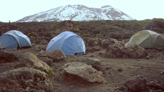 morning scene at shira 2 camp, mt. kilimanjaro, tanzania - mt kilimanjaro stock videos & royalty-free footage