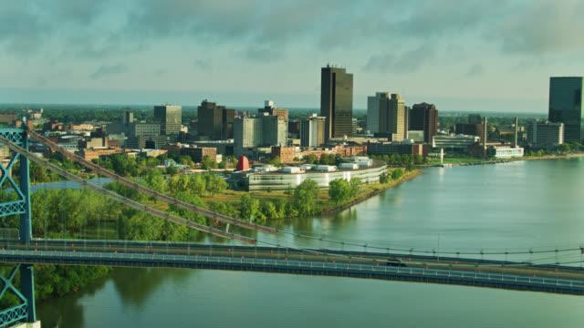 morning sunlight shining on downtown toledo, ohio - aerial - ohio stock videos & royalty-free footage