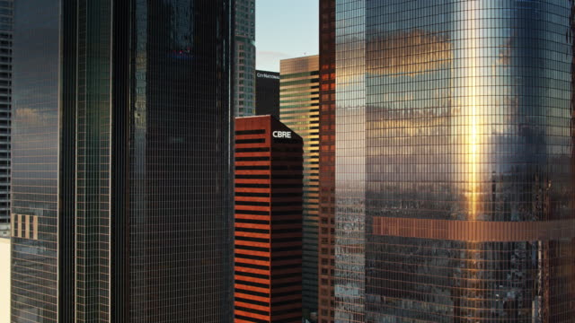 Morning Sunlight Shining on Office Towers - Aerial View