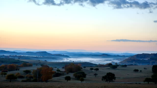 Morning view of hilly landscape of Hexigten Banner in Inner Mongolia, China