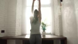 Morning Wake Up Beautiful Woman Stretching Near Window