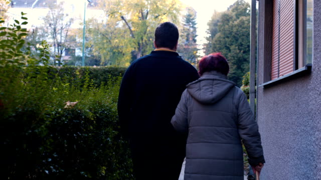 morning walk with grandmother - grandmother stock videos & royalty-free footage