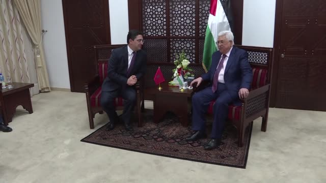 moroccan foreign minister nasser bourita meets with palestinian president mahmud abbas and palestinian foreign minister riad almaliki on a visit to... - minister president stock videos and b-roll footage