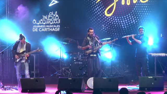 moroccan musician aywa performs on stage during the 12nd carthage jazz festival at carthage tunisia on april 11 2017 - carthage tunisia stock videos & royalty-free footage