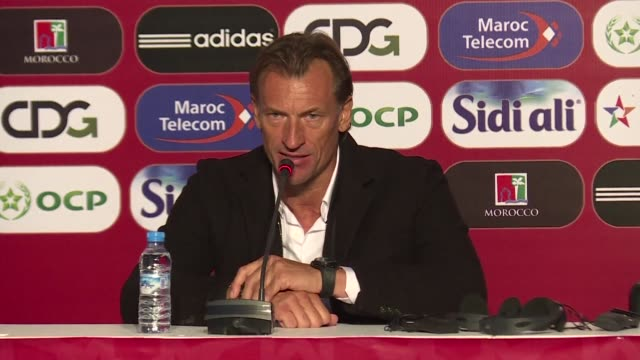 moroccan national coach herve renard gives a press conference after his team play uzbekistan in a friendly match ahead of the world cup - national team stock videos & royalty-free footage