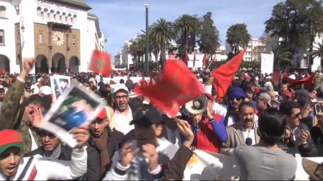 Moroccan protesters chant slogans against the United National Secretary General Ban Kimoon during a protest in Rabat Morocco on March 13 2016...