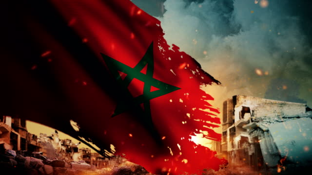 4K Morocco Flag - Crisis / War / Fire (Loop)