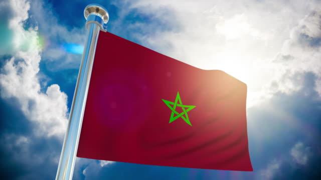 stockvideo's en b-roll-footage met 4k-vlag van marokko   loop bare stock video - paalzitten