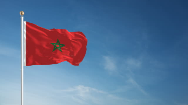 vidéos et rushes de 4 k maroc drapeau-bouclables - drapeau