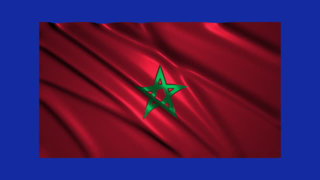Morocco flag waving,loopable on blue screen