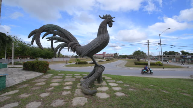 moron, ciego de avila, cuba-march 11-2020: the rooster of moron statue recreation a local legend of the town. this place is a national landmark and a... - local landmark stock videos & royalty-free footage