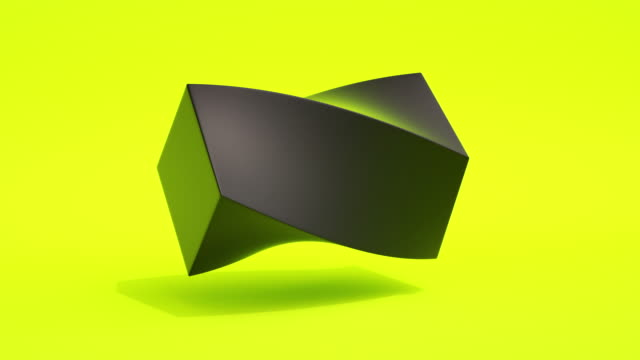 morphing shapes loop (yellow neon) - cube stock videos & royalty-free footage