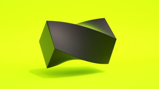 vídeos de stock, filmes e b-roll de morphing shapes loop (neon amarelo) - cubo