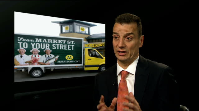 morrisons and ocado announce multimillion pound tieup gir dalton philips interview sot always cautious about entering this market hatfield crates... - hatfield stock videos and b-roll footage