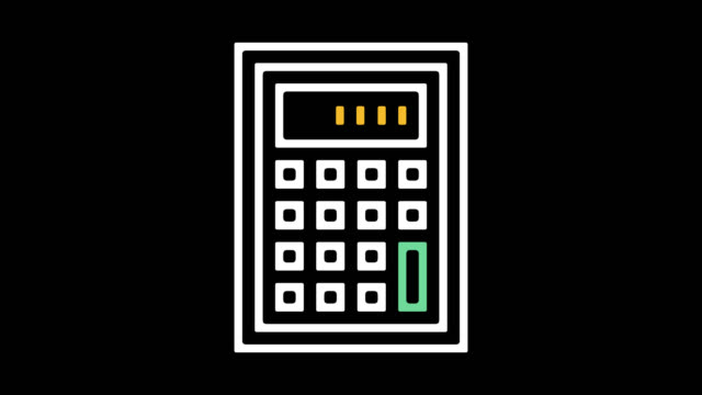 Mortgage Calculator Line Icon Animation with Alpha