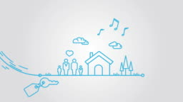 Mortgage line art animation