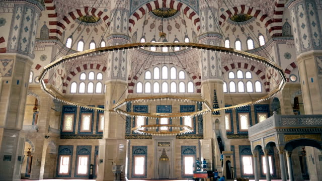 mosaic decoration inside of sabanci mosque in adana in turkey - mosaic stock videos and b-roll footage