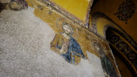 mosaic icon of jesus christ in hagia sophia - christianity stock videos & royalty-free footage