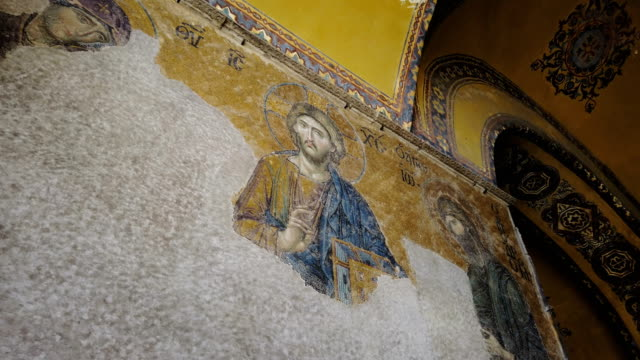 icona mosaico di gesù cristo in santa sofia - cristianesimo video stock e b–roll