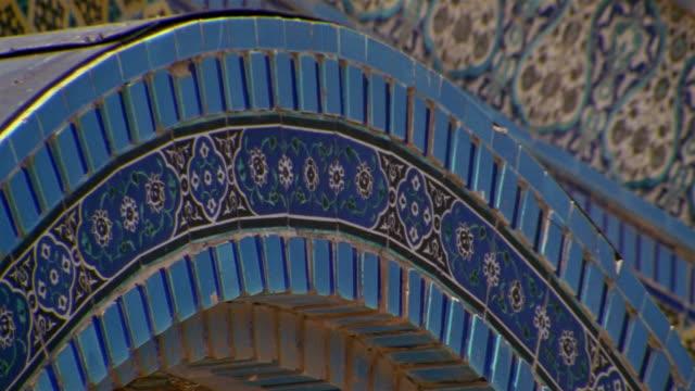 stockvideo's en b-roll-footage met cu, mosaic on dome of the rock, jerusalem, israel - rotskoepel