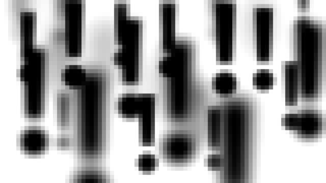 vídeos de stock e filmes b-roll de ponto de exclamação: mosaico, branco para trás (transição) - ponto de exclamação