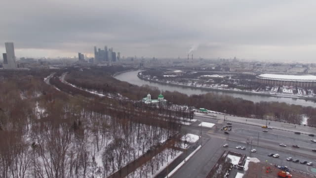 moscow aerial view in winter - river moscva stock videos & royalty-free footage