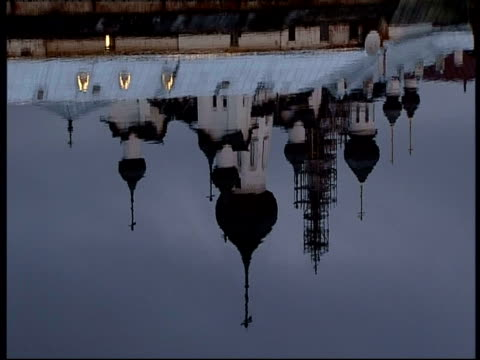 a moscow church reflects in a pool. - onion dome stock videos and b-roll footage