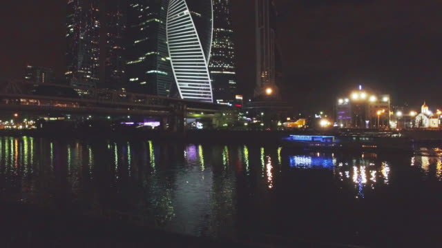 moscow city and moscva river at night - passenger craft stock videos & royalty-free footage