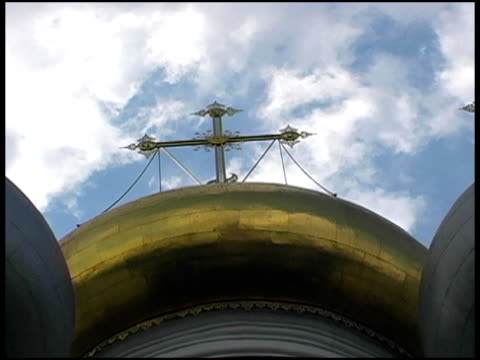 moscow dome: clouds above cathedral of our lady smolensk - onion dome stock videos and b-roll footage