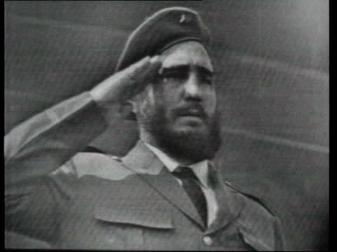 may in 1963 two communist leaders fidel castro and nikita khrushchev met in moscow moscow ext b/w footage fidel castro on soviet visit as watches... - cuba video stock e b–roll