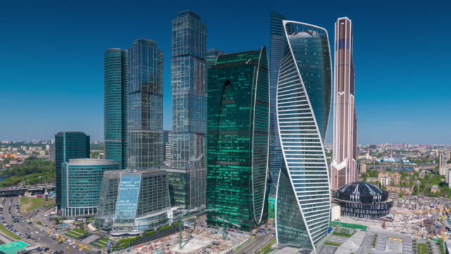 moscow financial district - moscow russia stock-videos und b-roll-filmmaterial