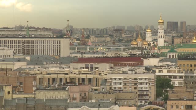 moscow ext general views cathedral of christ the saviour gold domes / kremlin spires / moscow traffic / ministry of foreign affairs of russia main... - main tower stock videos and b-roll footage