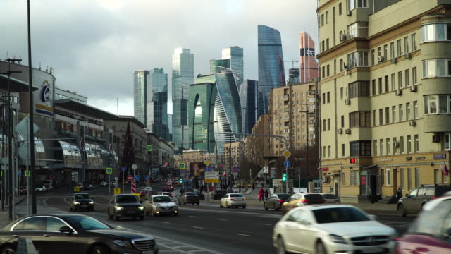 moscow international business center and traffic on road - moscow russia stock videos & royalty-free footage