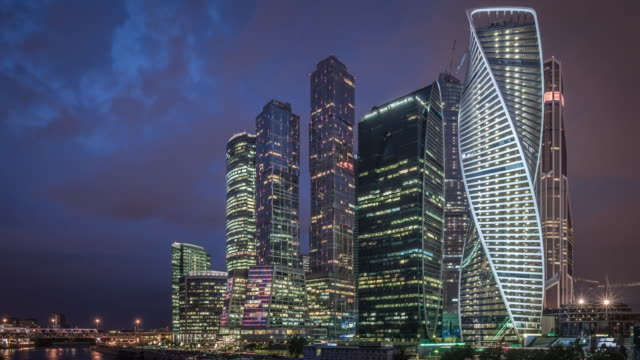 t/l ws pan moscow international business center at night / moscow, russia - moscow russia stock videos & royalty-free footage