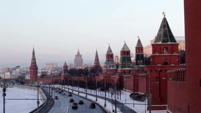 moscow kremlin at winter sunrise - 2014 stock-videos und b-roll-filmmaterial