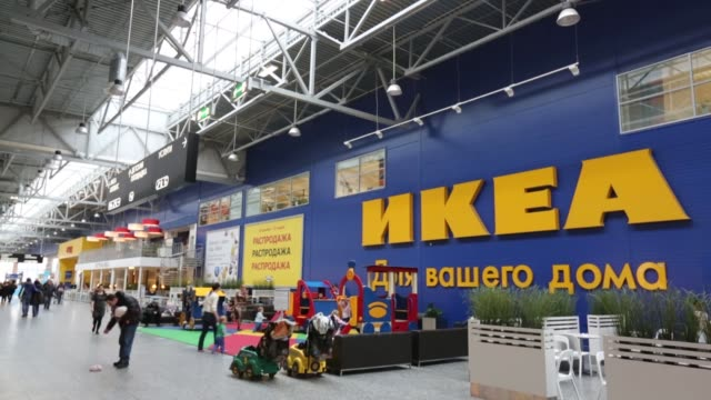 Moscow Mall interior foot traffic signage Ikea department store retail chain stores Moscow Mall Exterior on February 04 2013 in Moscow Russia