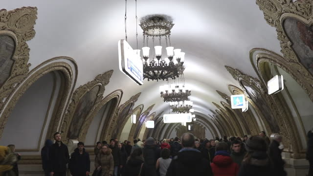 moscow metro station - underground rail stock videos and b-roll footage