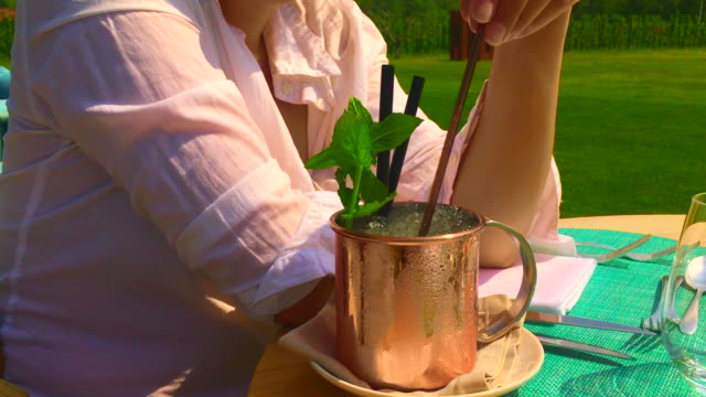 moscow mule cocktail in copper mug - mug stock videos & royalty-free footage