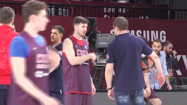 Moscow players attend a training session ahead of the Turkish Airlines Euroleague Final Four consolation match at Sinan Erdem Dome in Istanbul Turkey...